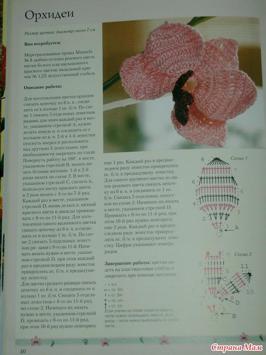 Схема вязания крючком листьев орхидеи