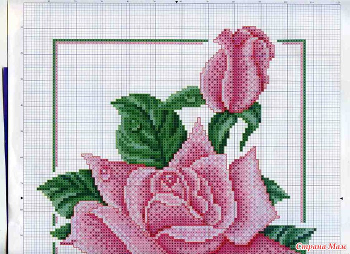 Схемы роз для подушек: