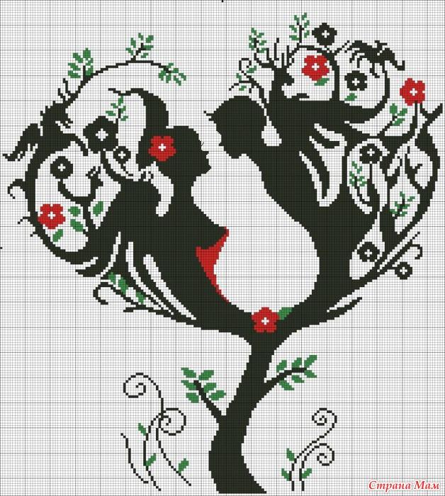 Схемы вышивки дерево любови