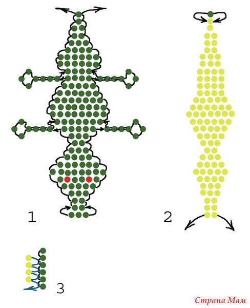 Схема для плетения крокодильчика из бисера. .  На этой. .