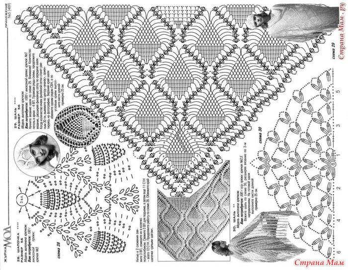 Вязание шали крючком с рисунком