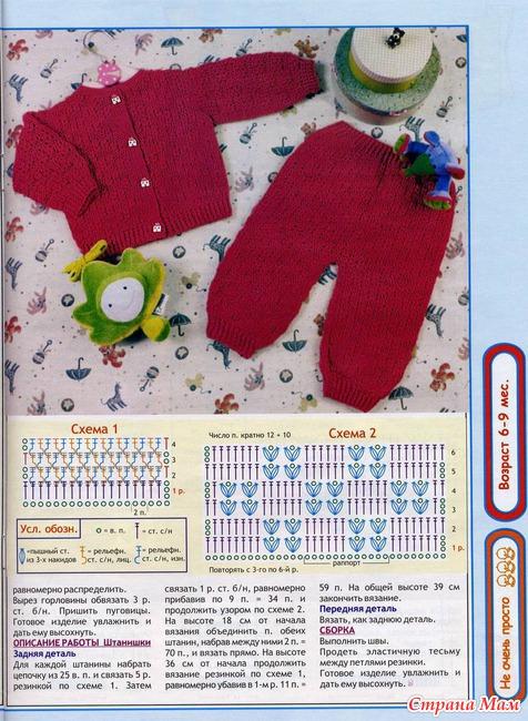 Узор вязания на спицах штанишек 466
