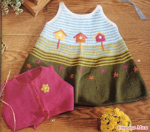 схемы вязания мини платья