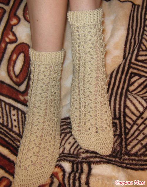 МК по вязанию ажурных носочков