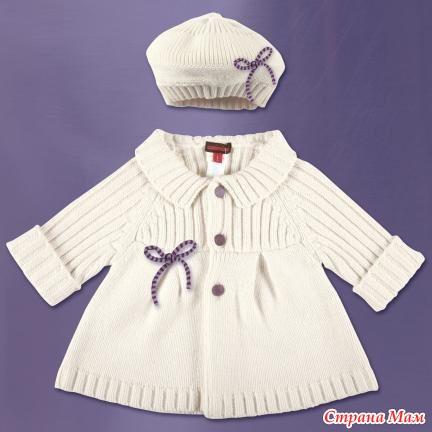 Вязаное пальто детское -