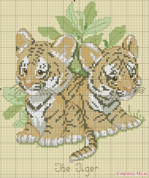 Схемки для вышивки крестом, целая серия.  Тут и волчата, и лисята, и тигрята и много других малышей.