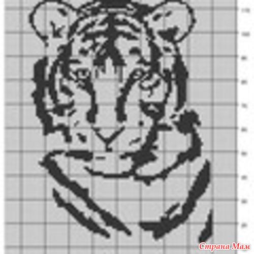 Скачать схему вышивки тигр. В