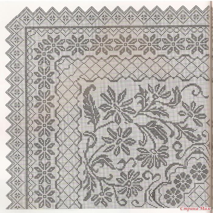 Пледы филейное вязание 32