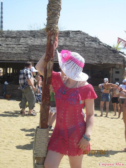 Вязание пляжная шляпа с полями