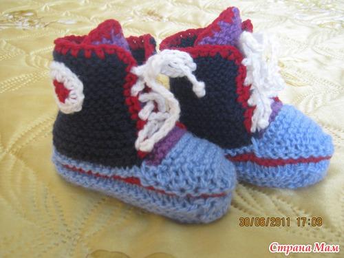 вязание кеды новорожденным