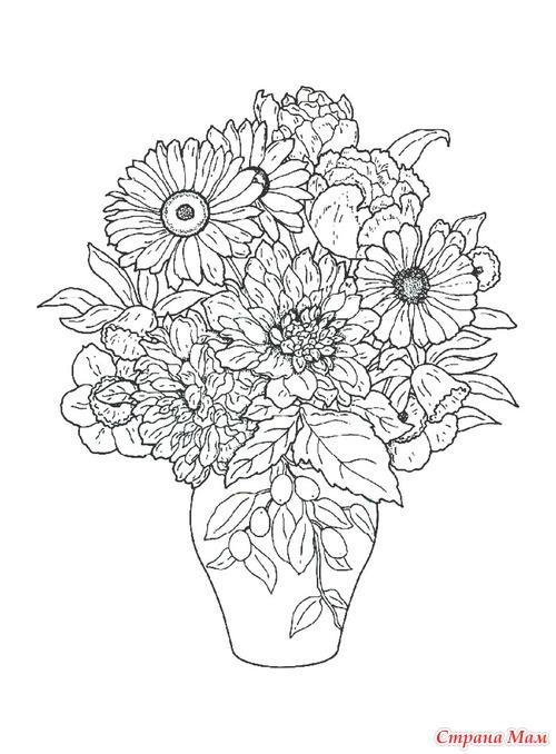 Цветы в вазах и корзинах