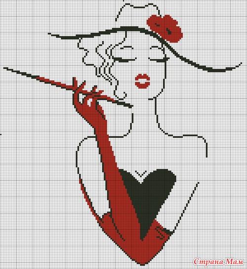 Схема монохромной вышивки девушка