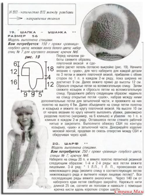 Шапка ушанка вязаная спицами женская схема фото7