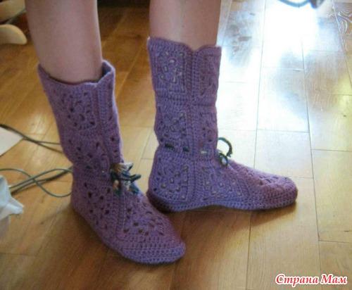 Вязание домашних сапожек мк