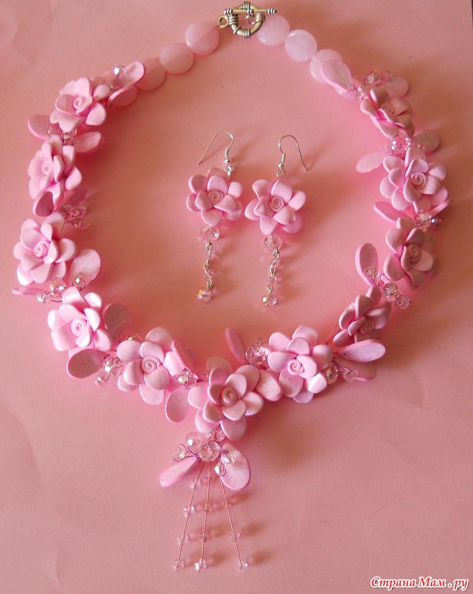 """Комплекты украшений ручной работы.  Розовое великолепие """".  Украшения из полимерного пластика."""