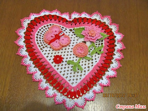Вязание салфетки-сердечко крючком