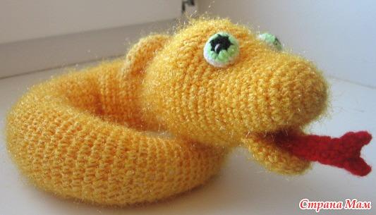 Вязание крючком игрушки змеи