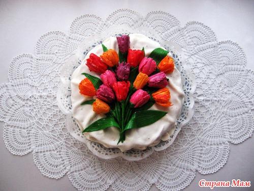 Тюльпаны для торта из мастики мастер