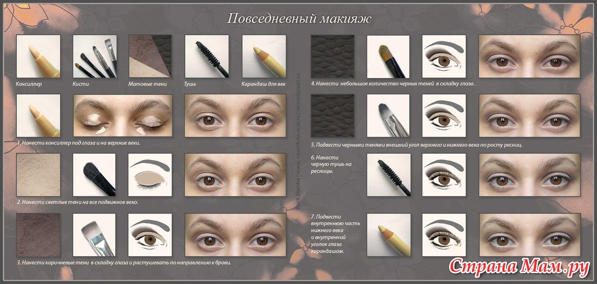 Как сделать макияж глаз пошагово фото
