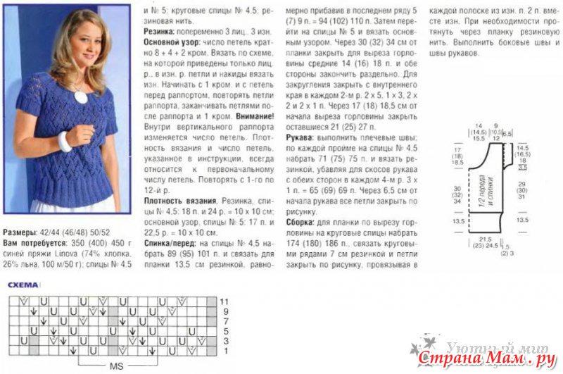 Схема и описание вязания спицами пуловера для женщины 46 размера