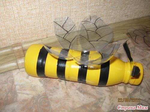 Пчёлки из пластиковых бутылок своими руками 24