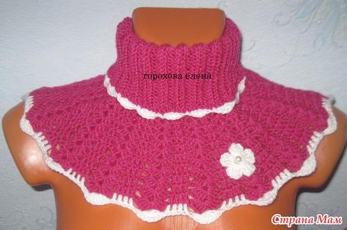 Вязание спицами шарфа-манишки