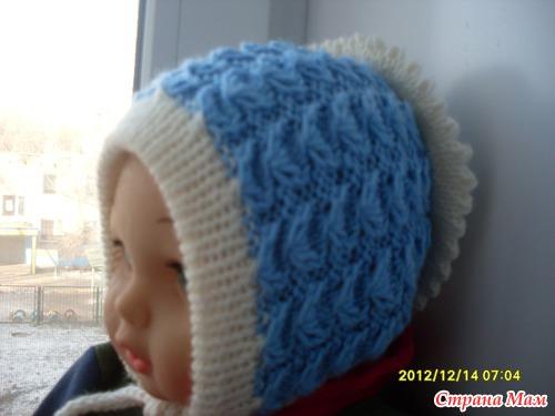 Бесшовная шапочка для новорожденного снежана