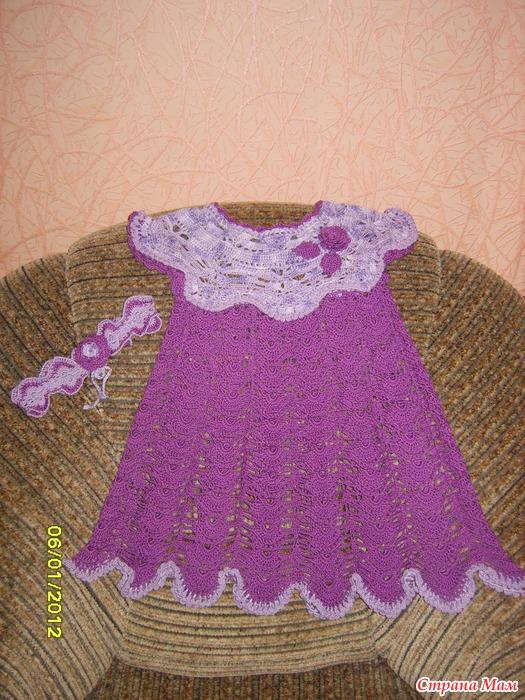 Вязание платья для девочек с кокеткой 662