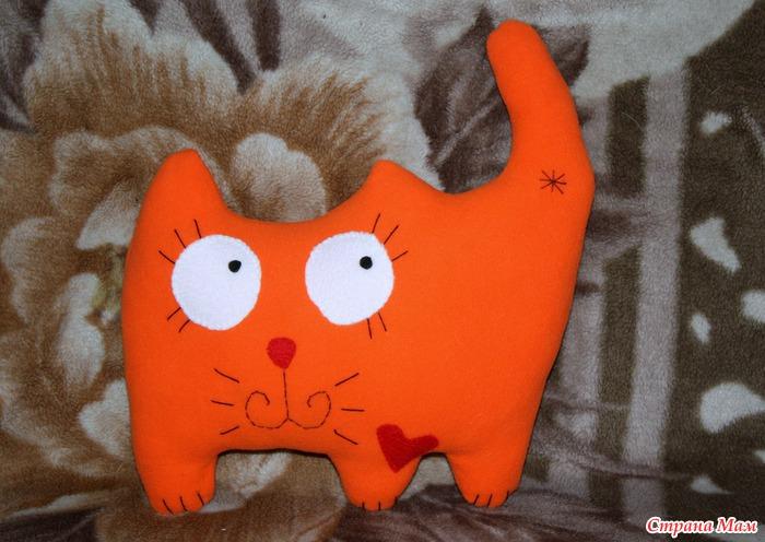 Как сшить игрушку подушку кота