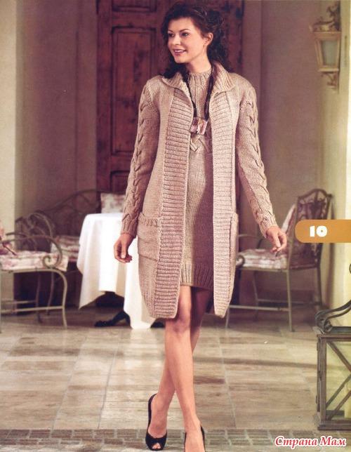 Женское вязаное пальто спицами от Ballantyne - оригинальная модель. вязаное