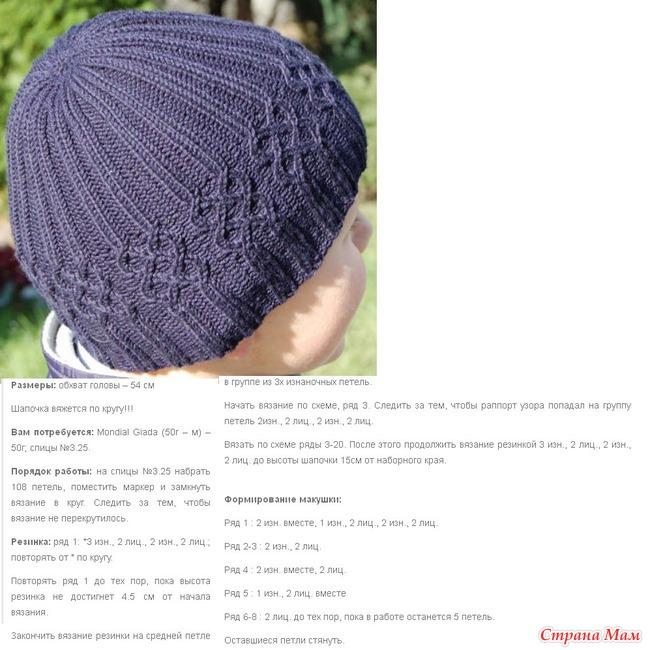 Как закончить вязание спицами шапки по кругу спицами
