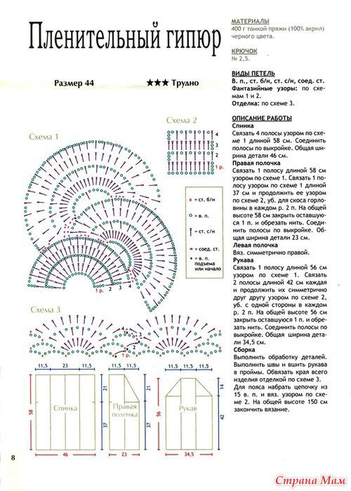 Схема вязанной крючком кофты из тонкой пряжи