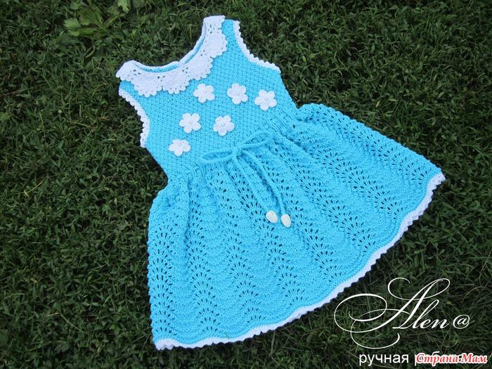 Вязание детского платья сарафаны 146