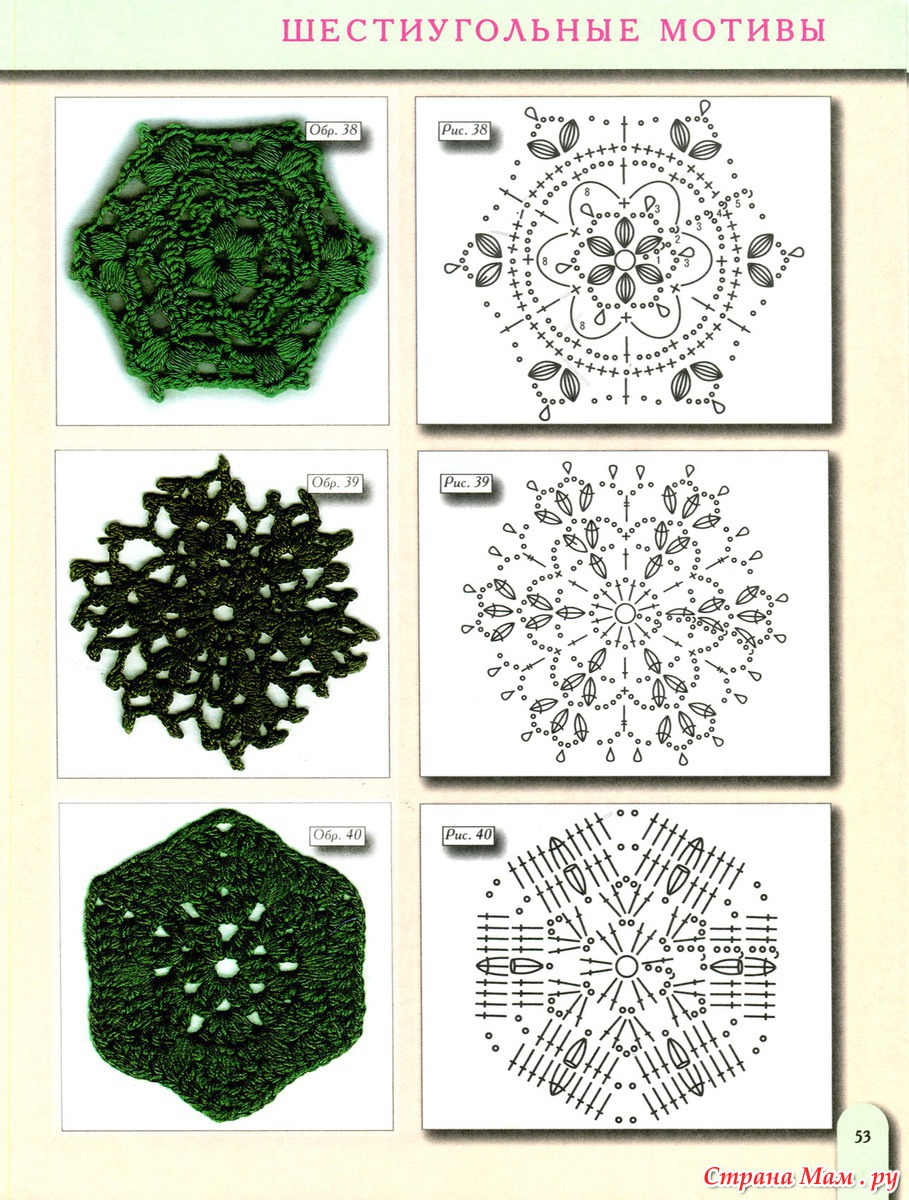 Шестиугольный мотив крючком схема для сапожек