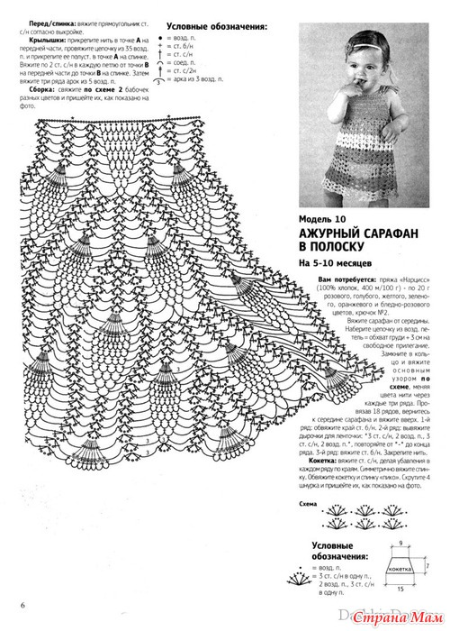 Схемы вязания сарафанов для девочки крючком
