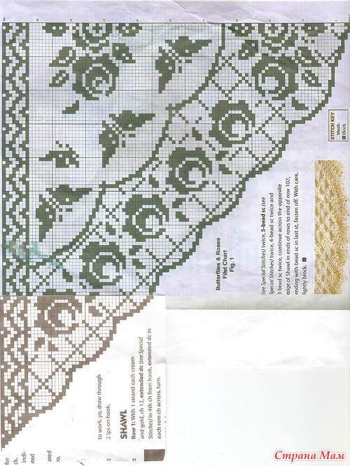 Шаль филейное вязание крючком схема - 9e4
