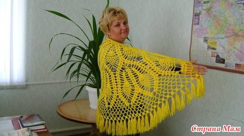 Девочки, мой очередной хвастик.  Шаль полукруглая.  Схему брала из журнала Мода вязание.