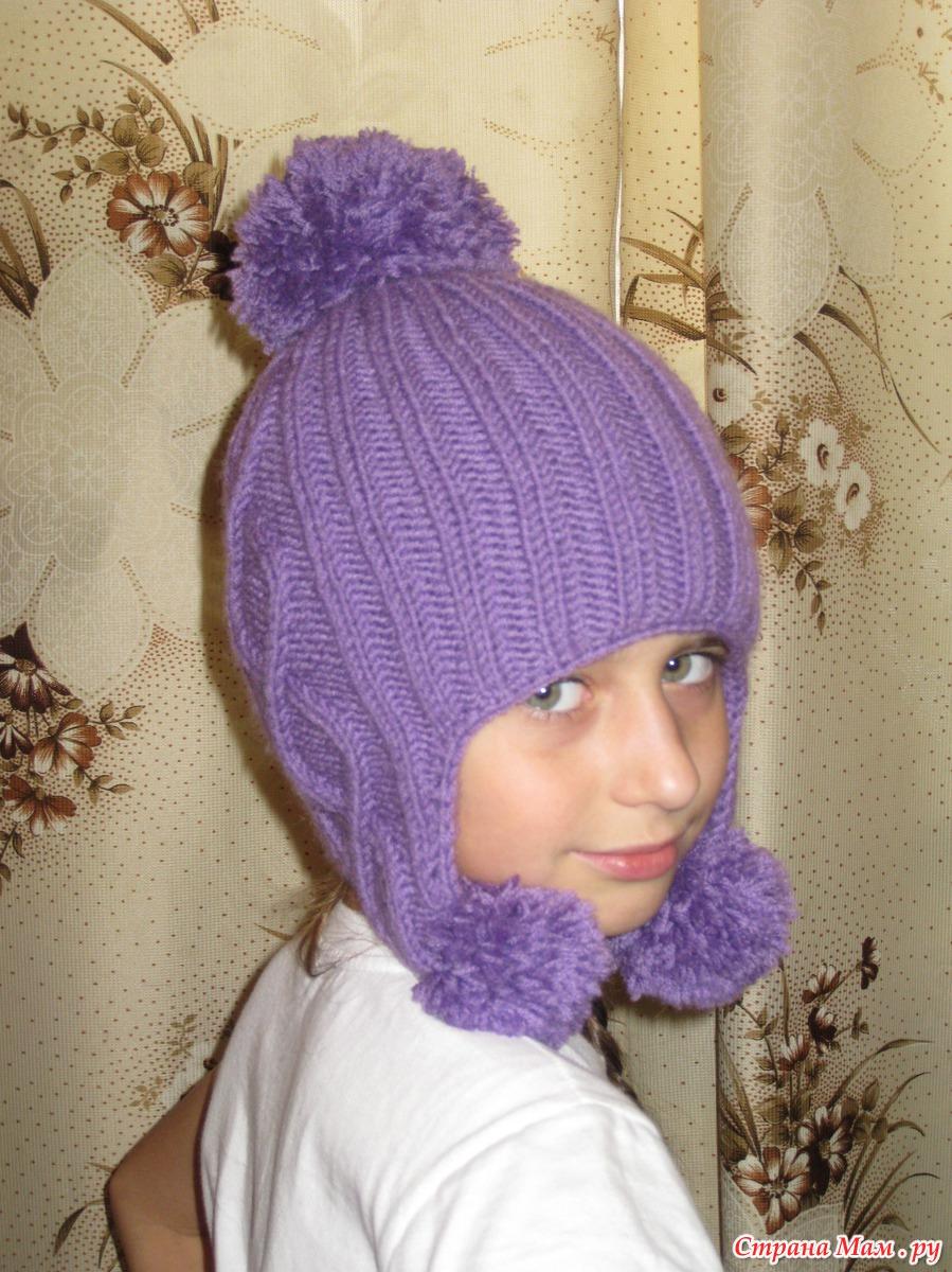 Вязание шапки ушанки для девочек подростка 33