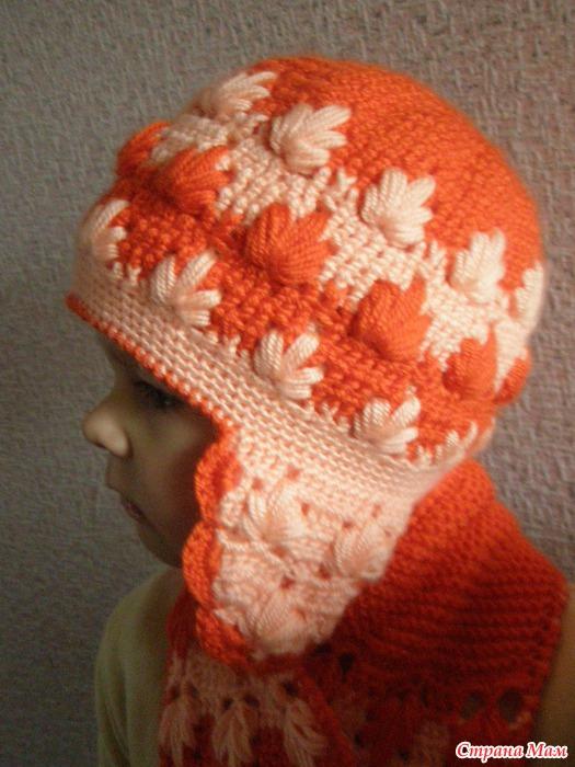 Вязание крючком осенние шапки для девочки 13