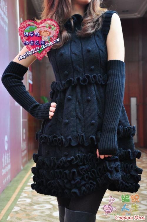 Платье с рюшами (без схемы).