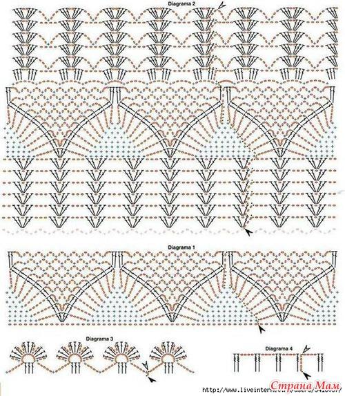 Ажурное вязание крючком топов и 585