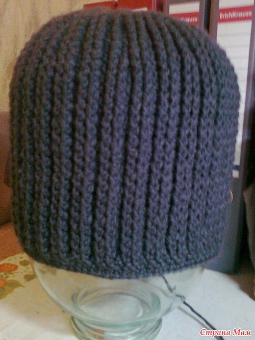 Вязание шапок крючком резинкой 23