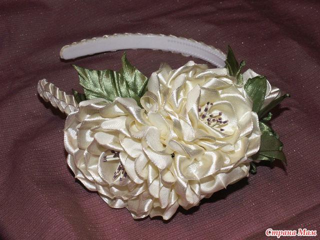 Розы из атласных лент из узкой ленты