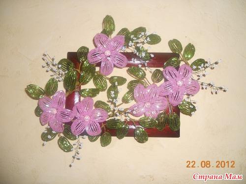 Из цветов из ткани панно из смальты