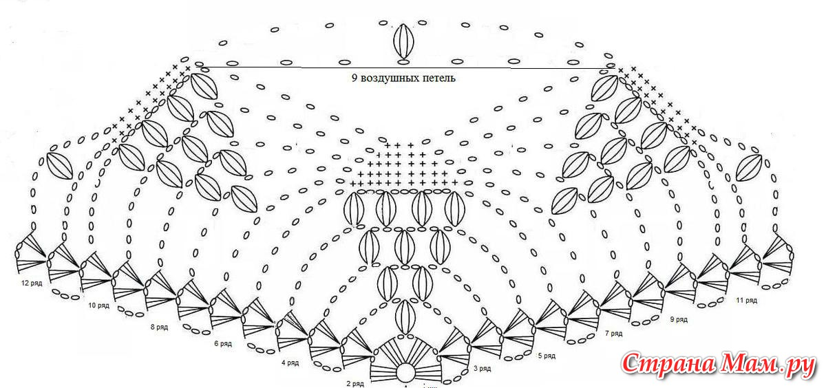 Вязание крючком шали виноградная лоза 59
