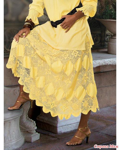 Длинная юбка с ажурными мотивами и вставками из ткани