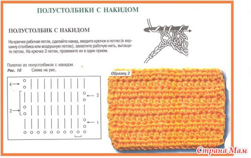 Вязание крючком столбики с накидом фото