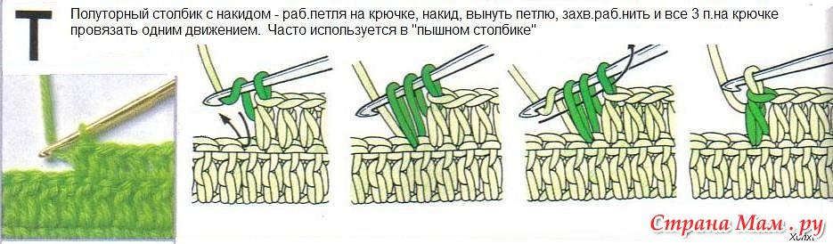 Провязать столбики накидом вместе