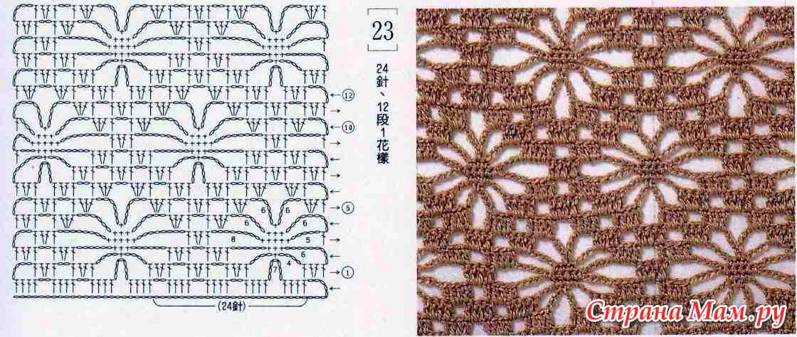 Вязание спицами узора паучки 48