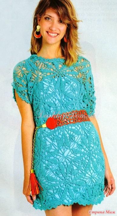 Ажурное бирюзовое платье из мотивов.